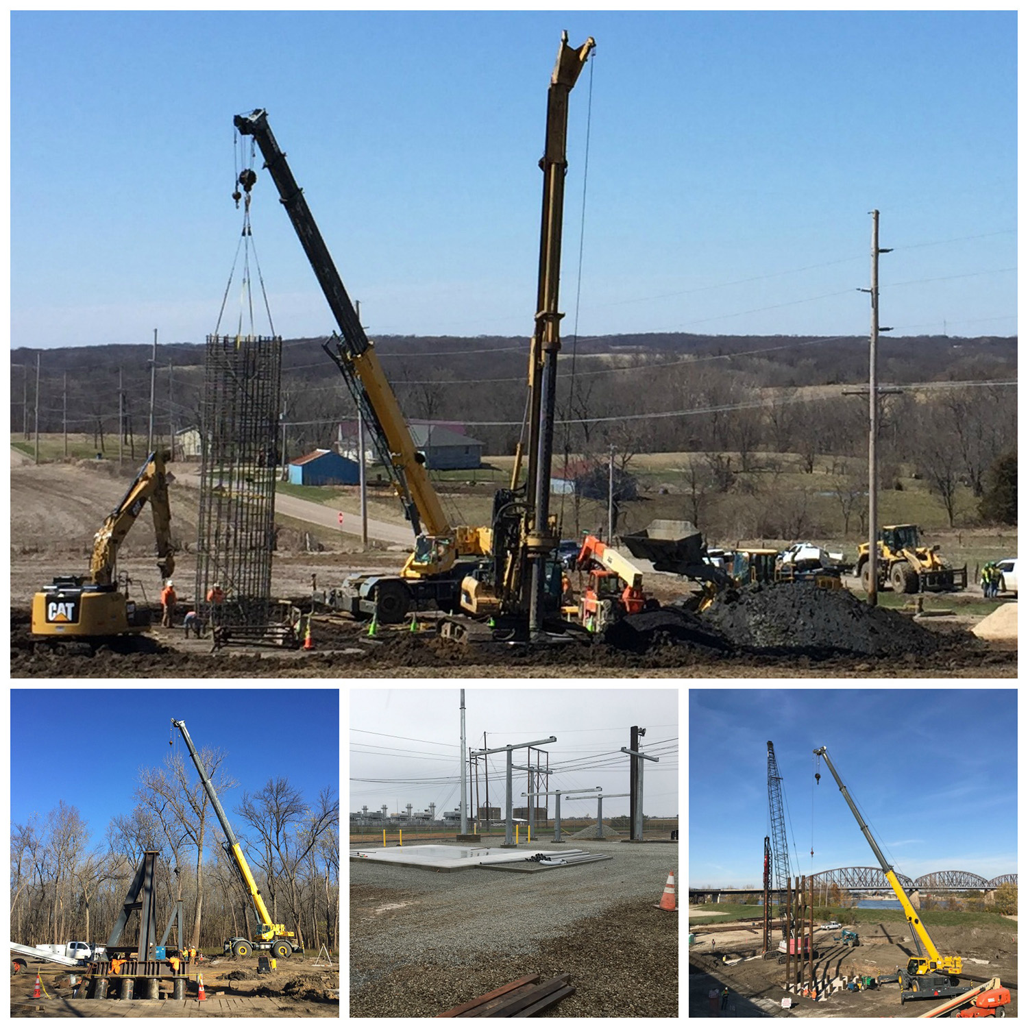 Plocher Construction - Ameren Illinois Rivers Transmission Line Foundations. - Featured Project
